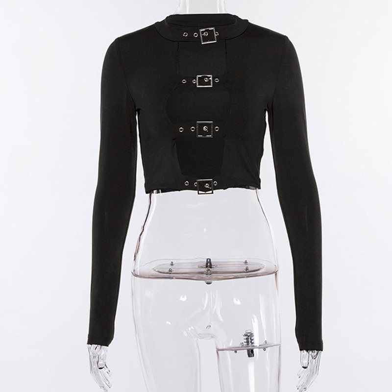 Rosetic обрезанная футболка Женские топы готический выдалбливают черный клуб сексуальный пупок короткий узкий Топ Весенняя Уличная Повседневная футболка для девочек