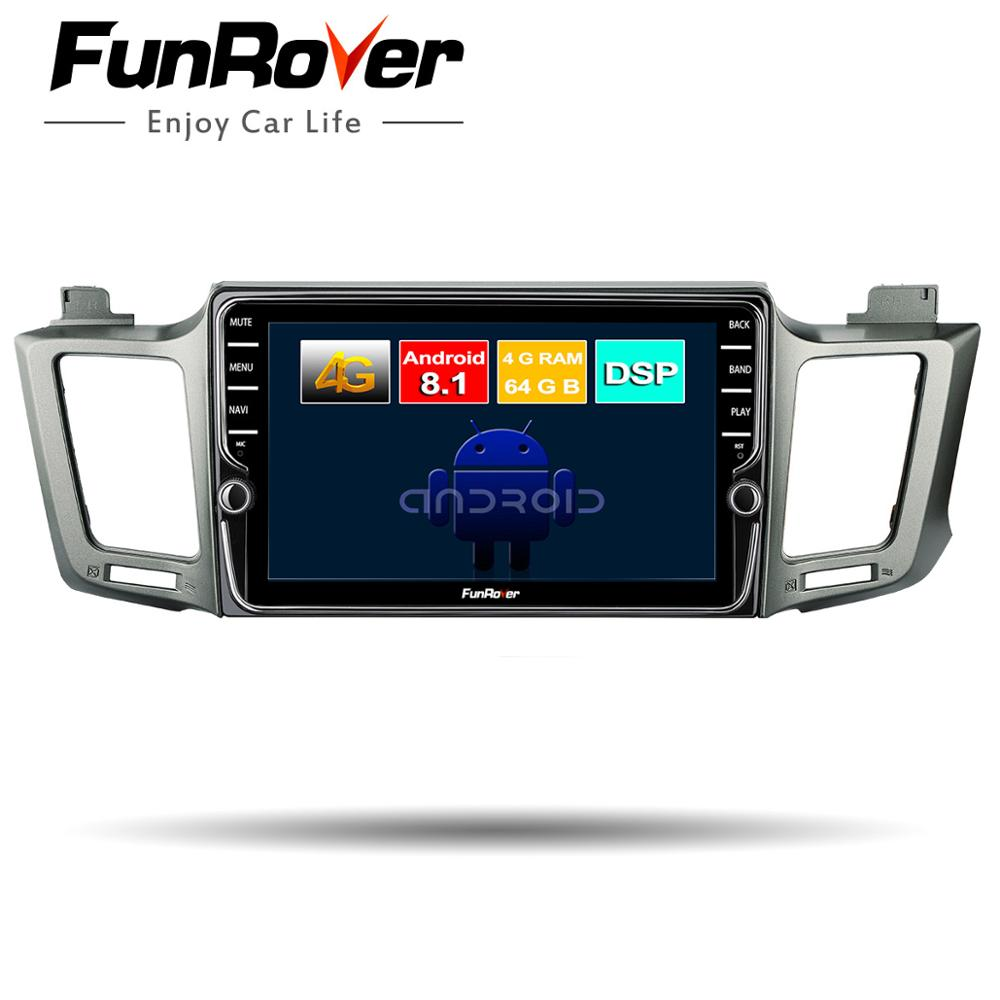 Funrover 8 cores android 8.1 car dvd gps player for Toyota RAV4 2013-2016 2 din car radio navigation audio video stereo player