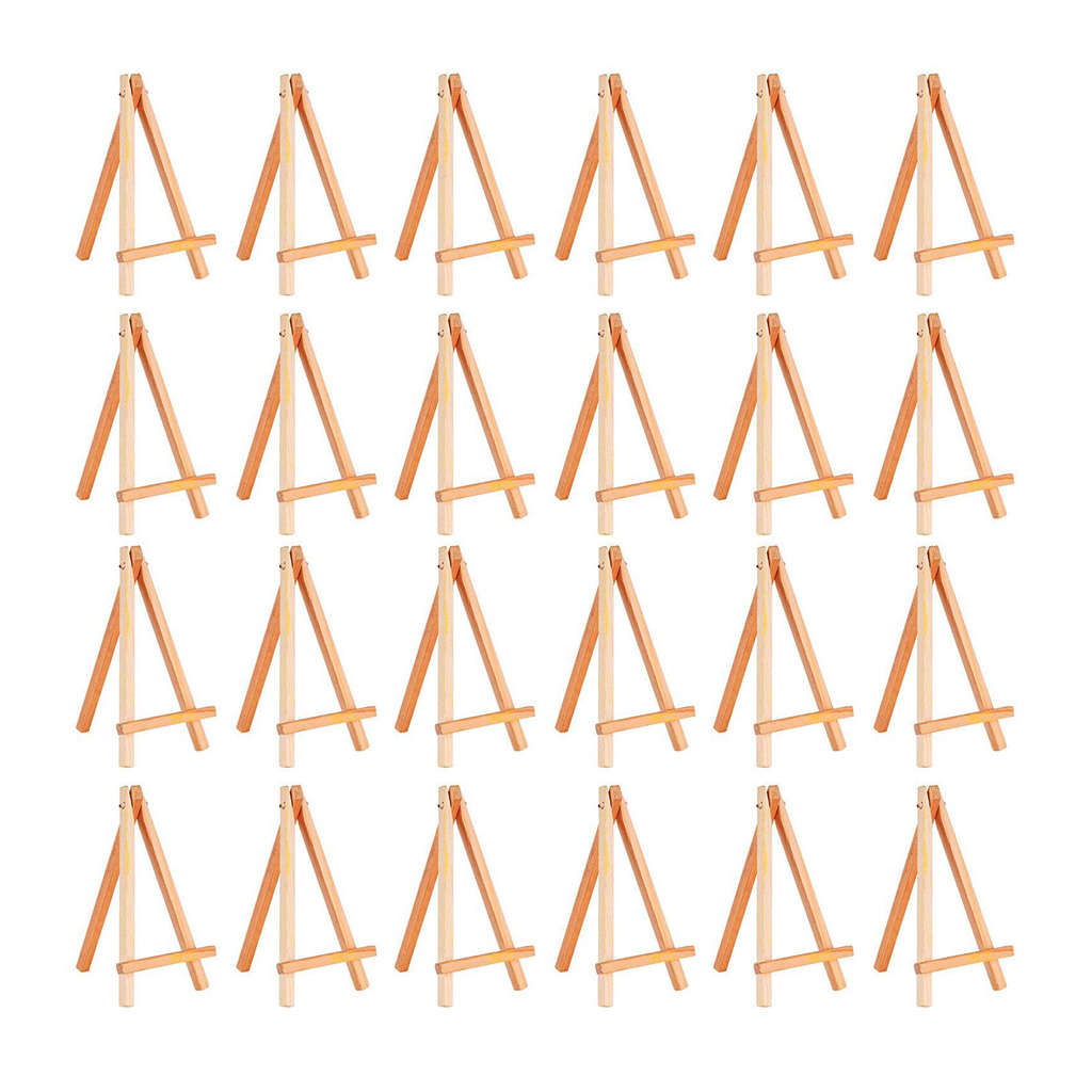 24 Pack Mini Wood Display Easel Wood Easels Set For Paintings Craft Small Acrylics Oil Projects-SCLL