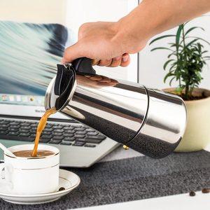 Image 2 - 200/450ml portátil máquina de café expresso moka pote aço inoxidável com fogão elétrico filtro percolador cafeteira chaleira pote