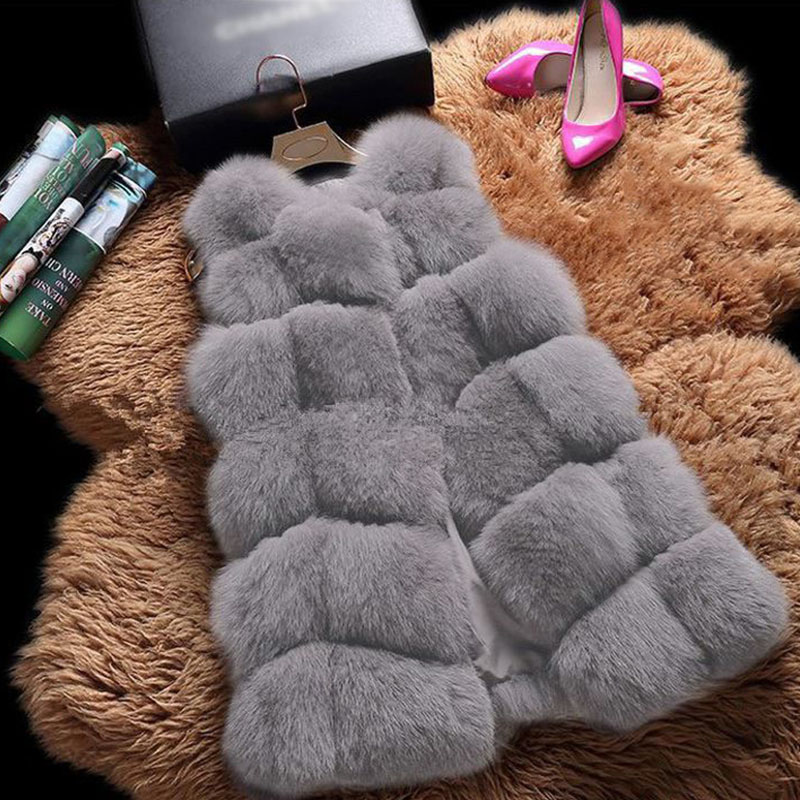 Faux Fur Sleeveless Vest Winter Thick Coats Women 2020 New Fashion Casual Jacket Warm Slim Fake Fox Outerwear Women Winter Vest