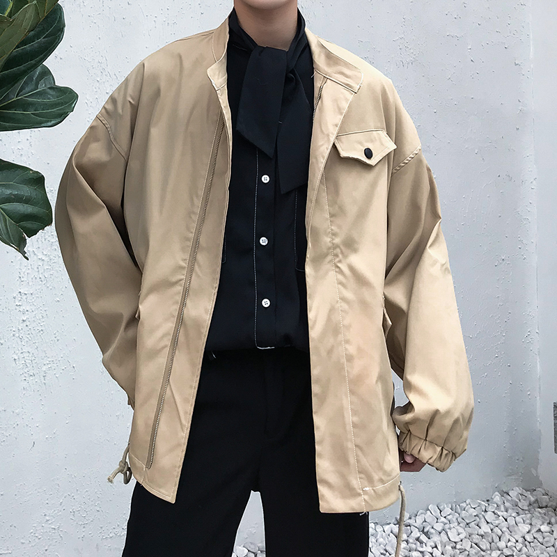 2019 Spring And Summer New Korean Version Of The Tide Simple Couple Solid Color Campus Wind Casual Loose Collar Jacket