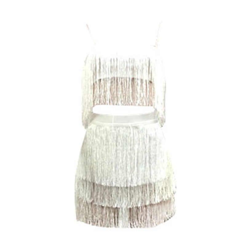 61cd968fb3d2e Sexy Women Tassels Two Piece Set Dress Spaghetti Strap Crop Top High Waist  Skirt Fringes Bodycon