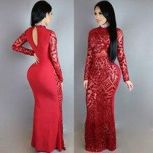 MUXU vestidos christmas dress sexy glitter red sequin women party dresses clothes long robe femme sukienki sleeve