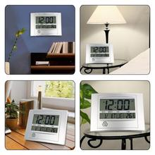 LCD Digital Wall Clock With Thermometer Electronic Temperature Meter Calendar