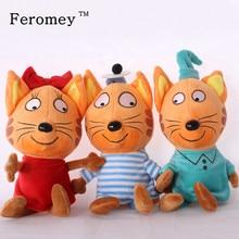 Русский мультфильм три котята плюшевая кукла игрушка счастливые котята кошка фигурки мягкая игрушка для детей рождественские подарки