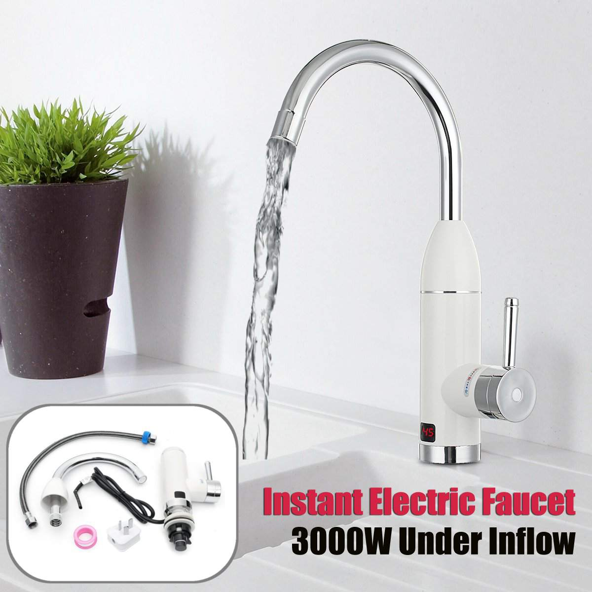 Home 3000W 220V Instant Electric Faucet Tap Hot Water Heater Under Inflow LED Display Bathroom Kitchen