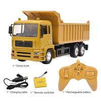 Alloy Remote Control Engineering Truck Model With Rechargeable Battery Electric Toy Simulation Dump Truck With Light Music