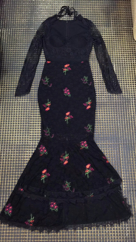 Schwarz Langes Kleid t Frauen Qualit Geschn Spitze berlegene Floral Maxi Sexy RL543qAj
