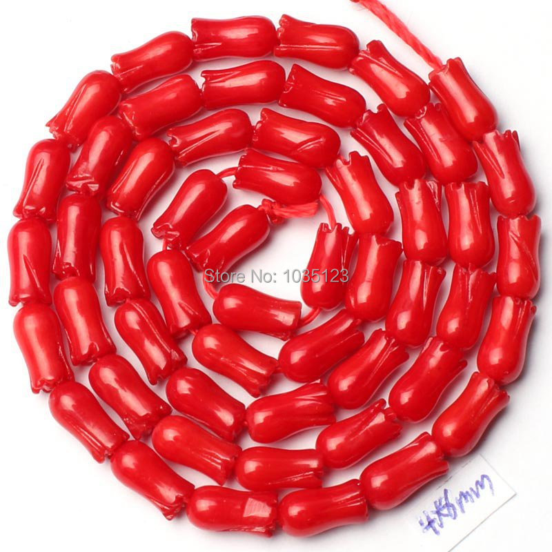 Alta qualidade 4x8mm coral vermelho liso natural esculpida flor forma solta grânulos strand 15