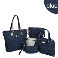 6pcs Women Brand Bag Set New Nylon Thread Diamond Lattic Totes Shoulder Fashion Boston 5Colors
