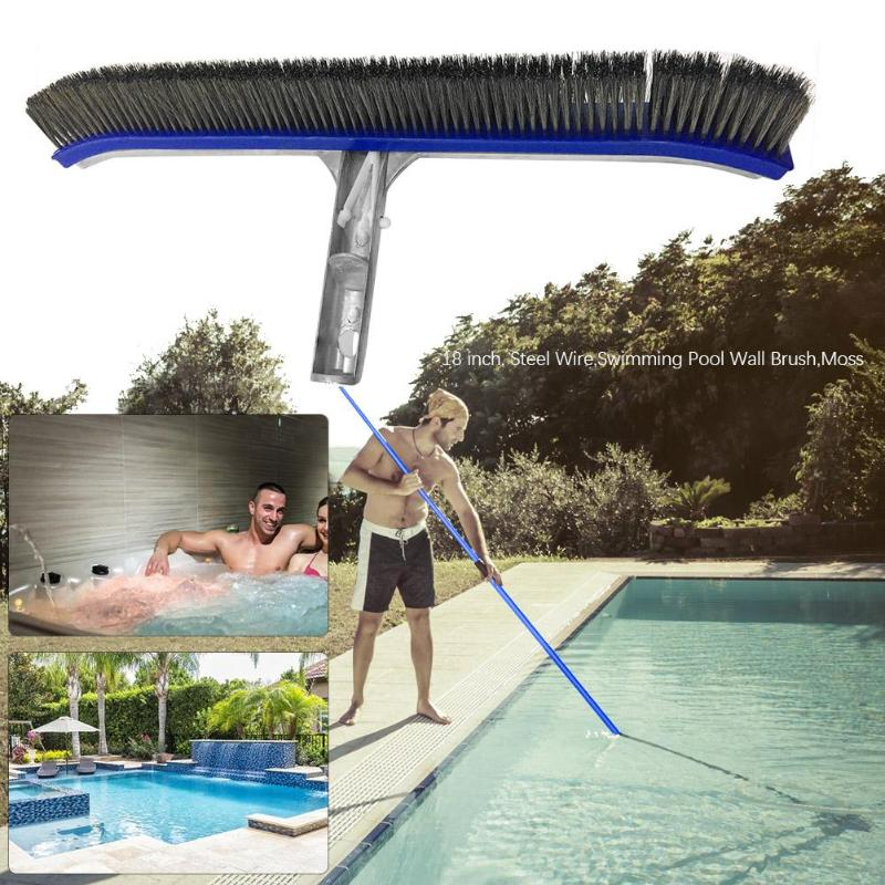 Professional 10/18in Swimming Pool Wall Brush Cleaning Tools Aluminum Handle For Pond Spa Hot Spring Pools Cleaner