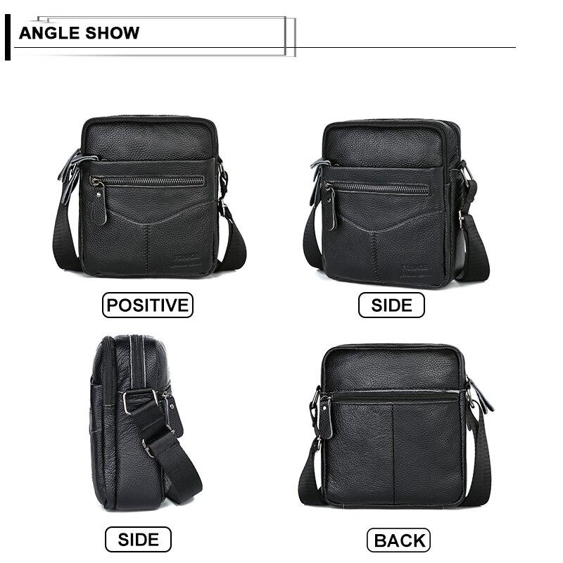 Image 3 - Men Shoulder Bag Genuine Leather Male Cow Leather Messenger Flap Small Shoulder Bags For Mens Solid Black Crossbody BagCrossbody Bags   -
