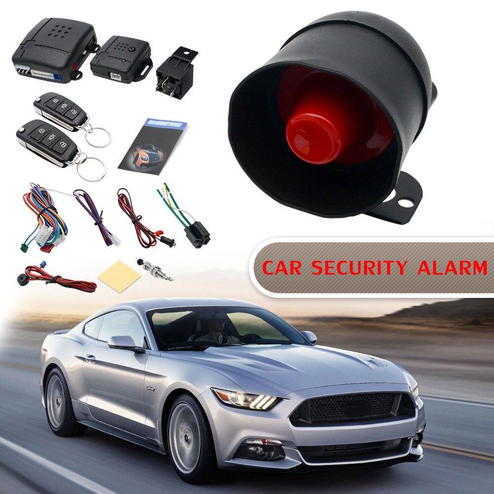 Système d'alarme antivol pour voiture Kit antidémarrage verrouillage Central 2 télécommandes capteur de choc avertissement identification universel