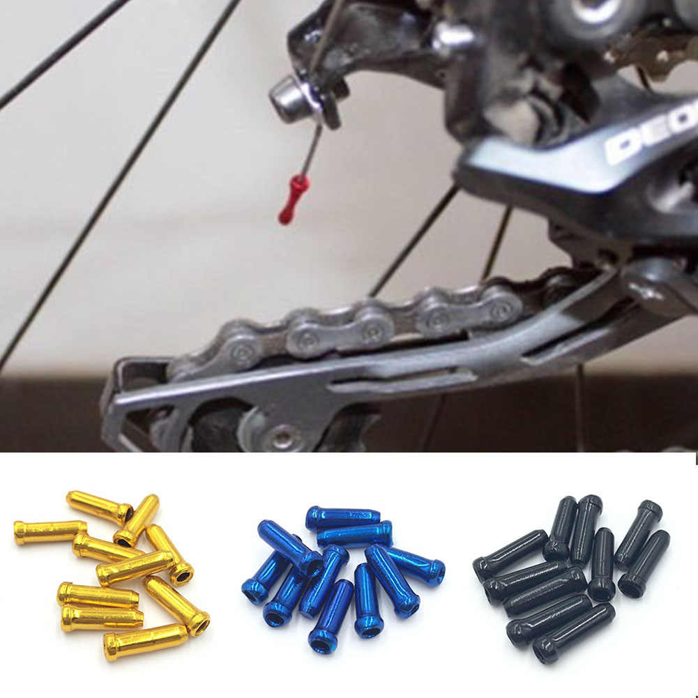 10 pcs/lot MTB Mountain Road bike cycling bicycle aluminum brake cable tips crimps bicycle derailleur shift cable end caps