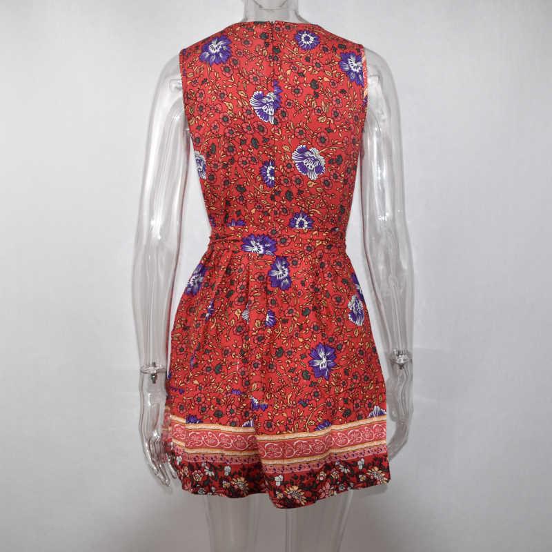 فستان لوكسي نسائي صيفي زهري بوهو فساتين قصيرة شعبية بدون أكمام مثير موضة نسائية أنيقة شاطئ فستان صيفي صغير 2020