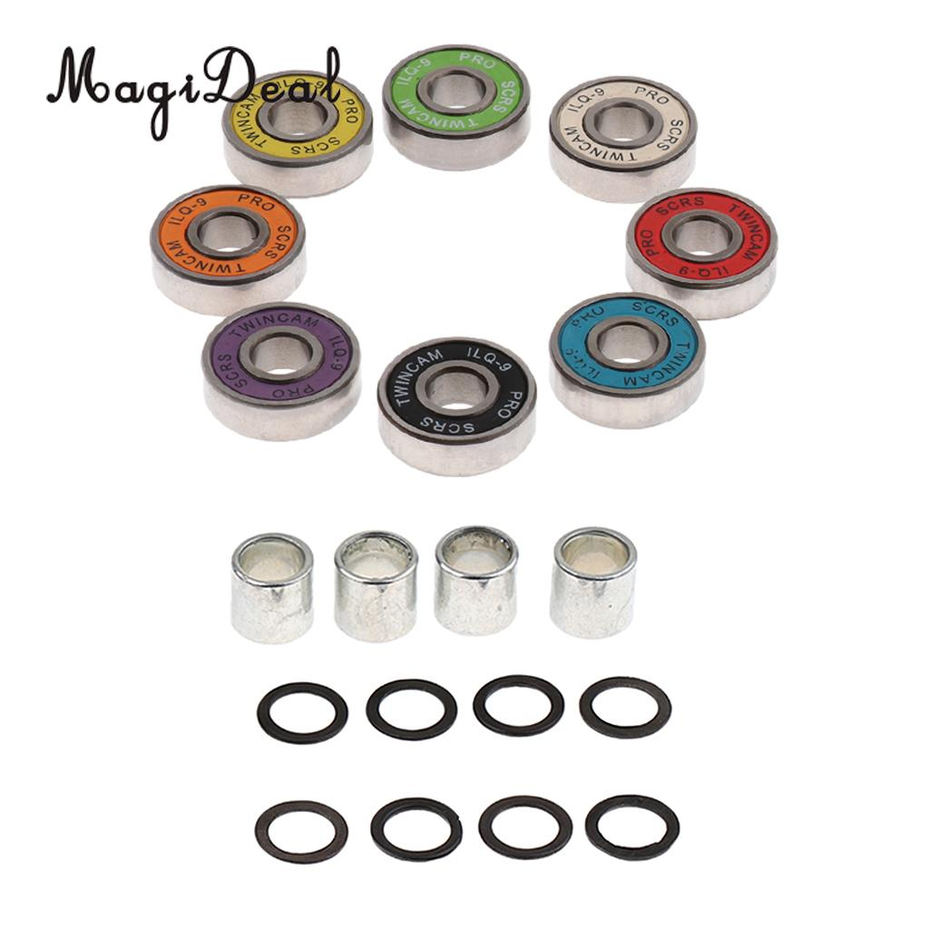 MagiDeal Skateboard Speed Kit- Bearing ,Spacers And Speed Washers Colourful Skateboard Spacers And Washers Skateboard Speed Kit