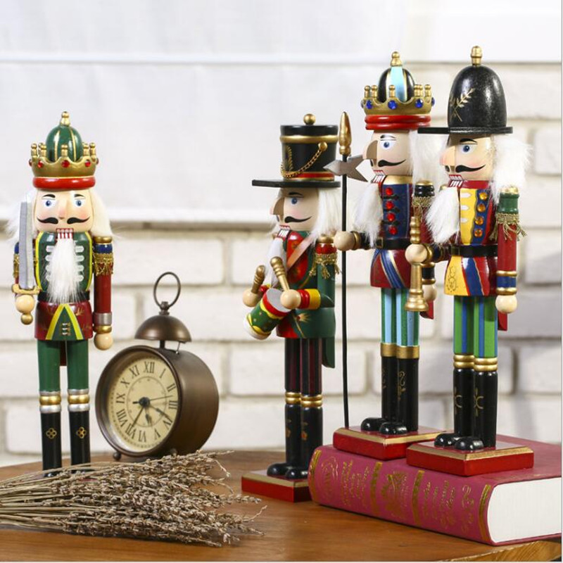 4pcs lot 30cm colorful wood nutcracker soldier ornament for home decoration hand made miniature wood crafts
