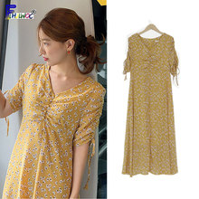 287c084a69 Amarillo vestidos de moda de las mujeres de manga corta con estampado Floral  de estilo coreano lindo Vintage dulce lindo dulce a.
