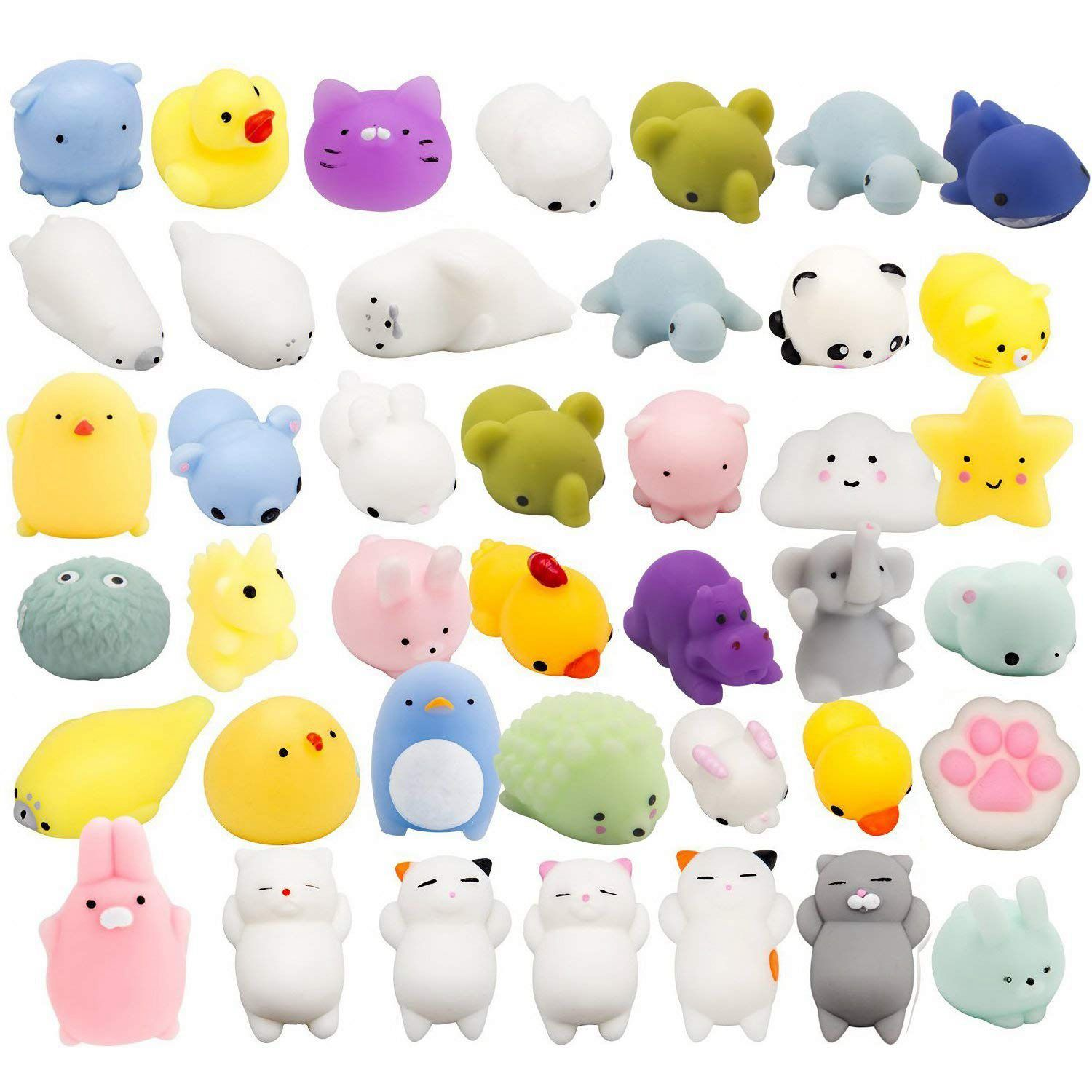 Random 30 Pcs Cute Animal Mochi Squishy, Kawaii Mini Soft Squeeze Toy,Fidget Hand Toy For Kids Gift,Stress Relief,Decoration,