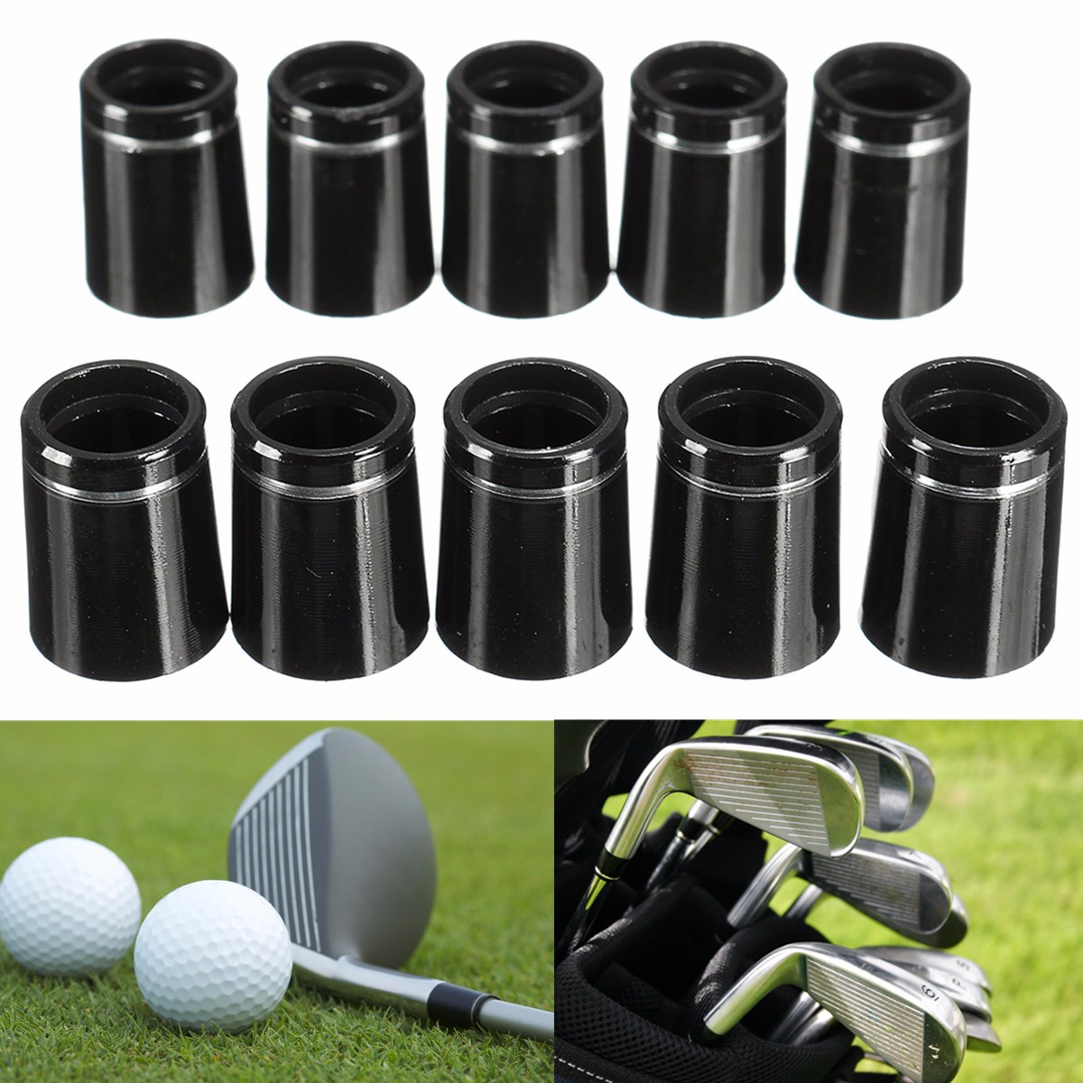 10x Golf Taper Tip Ferrules Adapter With Single Silver Ring For 0.335 Iron Shaft  For 0.335 Tip Irons PP Black