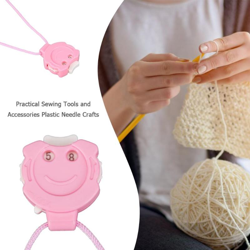 Multifunction Cute Plastic Needle Crafts Crochet Knitting Sewing Row Counter with Hanging Rope Knitting Tools Sewng Accessories(China)