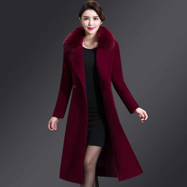 8dc788e7ef7 ... 5Xl 2018 New Winter Women Long Wool Blends Coat Outwear Faux Fox Fur  Collar Plus Size ...