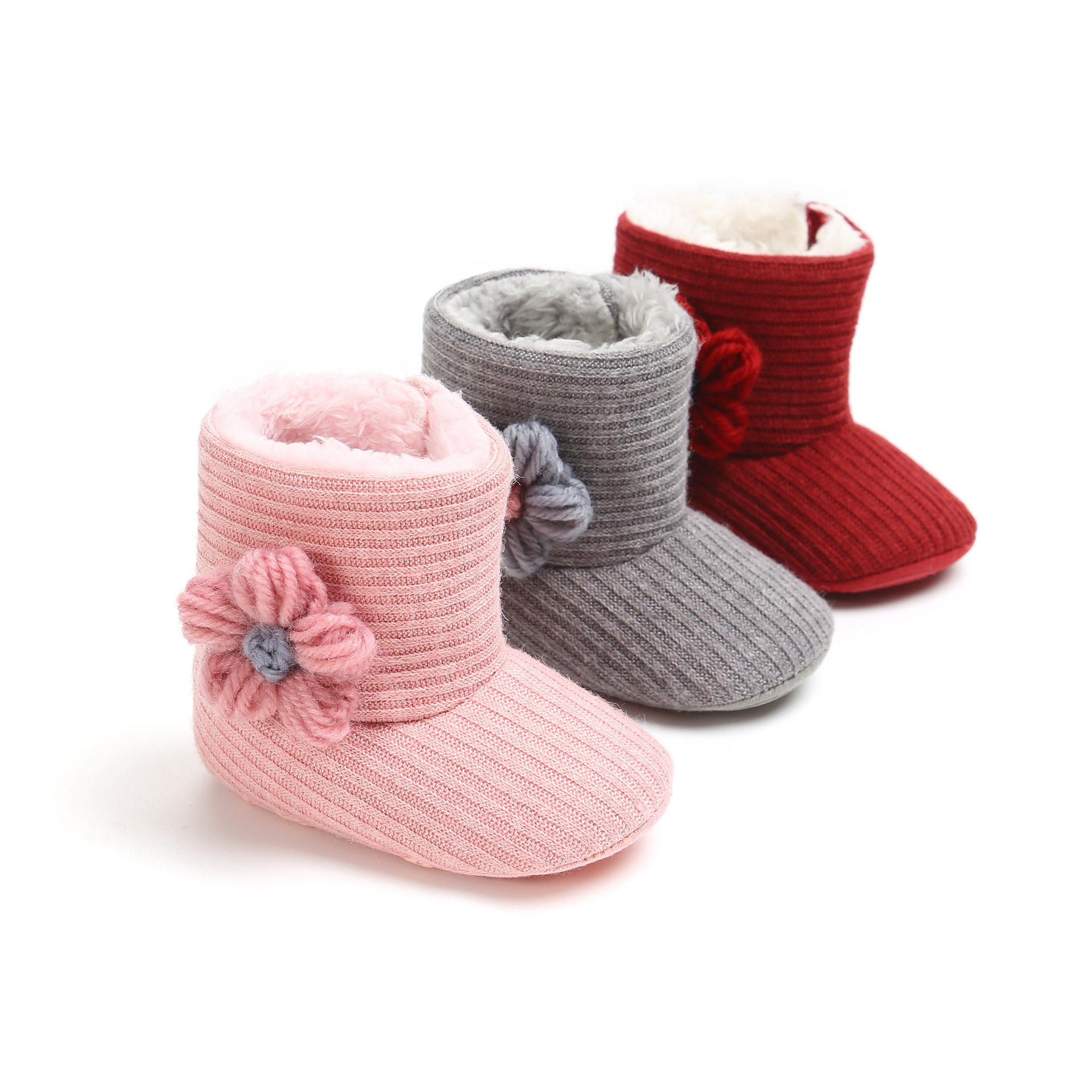 Baby Bowknot Soft Sole Winter Warm Woolen Yarn Shoes Boots Non-slip Boots Dropshipping .CX35C