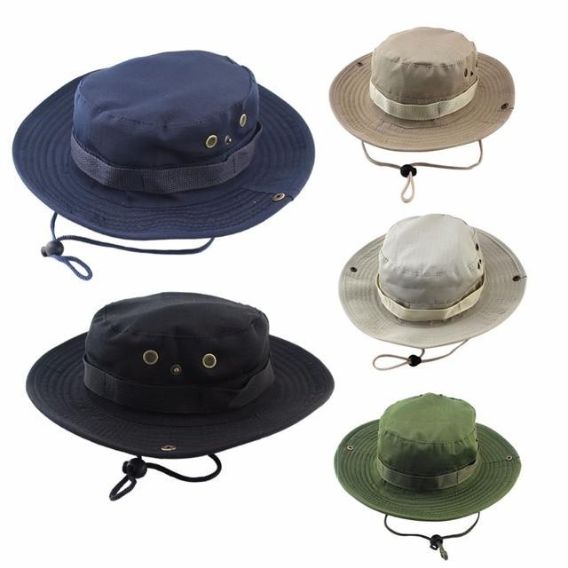 Sombrero de pesca deporte al aire libre verde militar breatale sombrilla de ala ancha protección UV gorra de pescador selva casquillo de montaña
