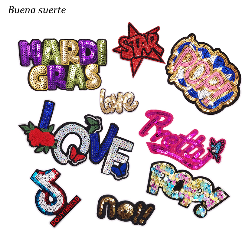Sequins Letters Pop LOVE Tik Tok Cartoon Embroidered Patch Stripes Iron on Clothes Patches for Clothing Parches Bordados Badges emblem