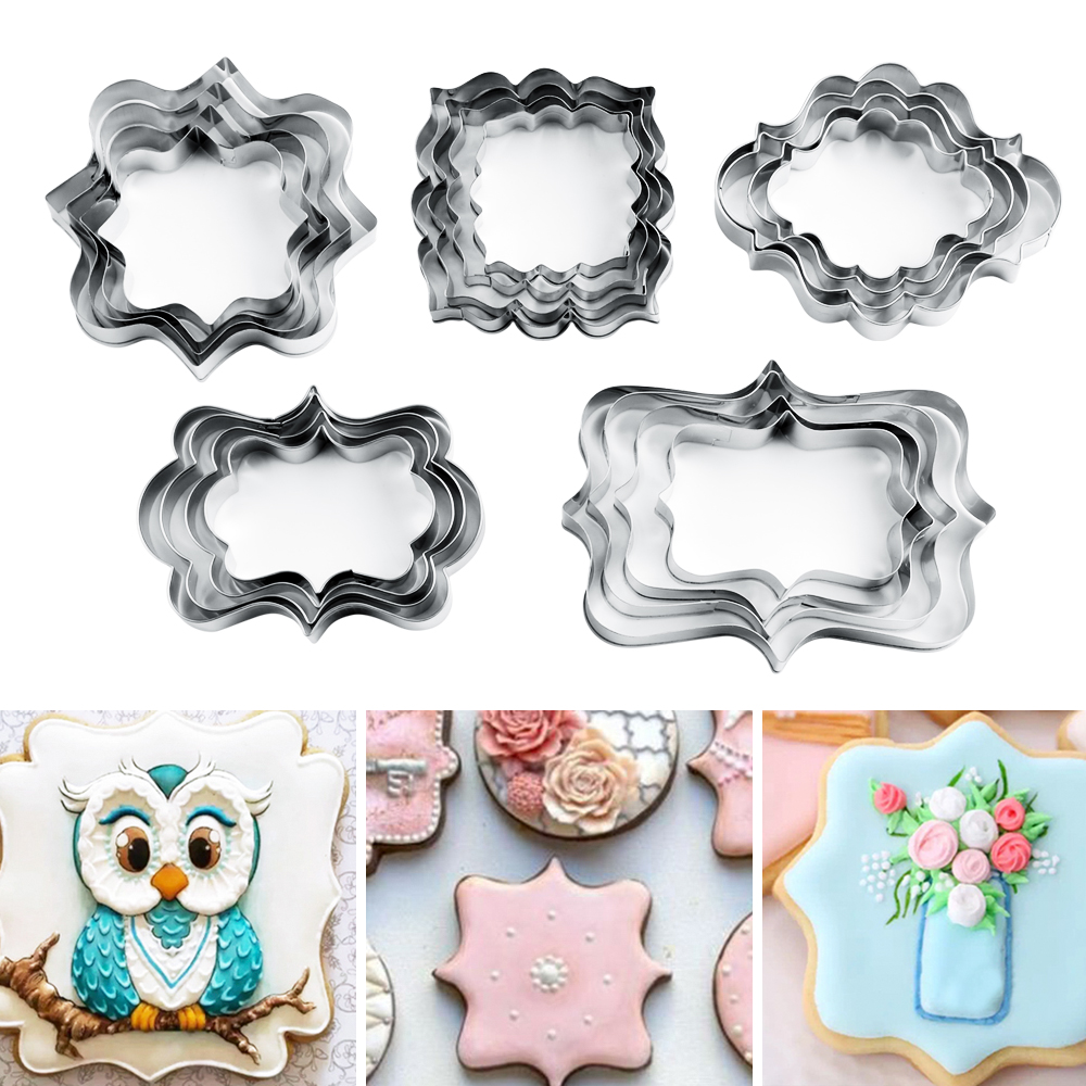 4pcs/set <font><b>Cake</b></font> Mold <font><b>Fondant</b></font> Cookie Cuttter Mold Frame <font><b>Cake</b></font> <font><b>Decorating</b></font> <font><b>Tools</b></font> Kitchen <font><b>Tools</b></font> Stainless Steel Fruit Vegetable Cutter image