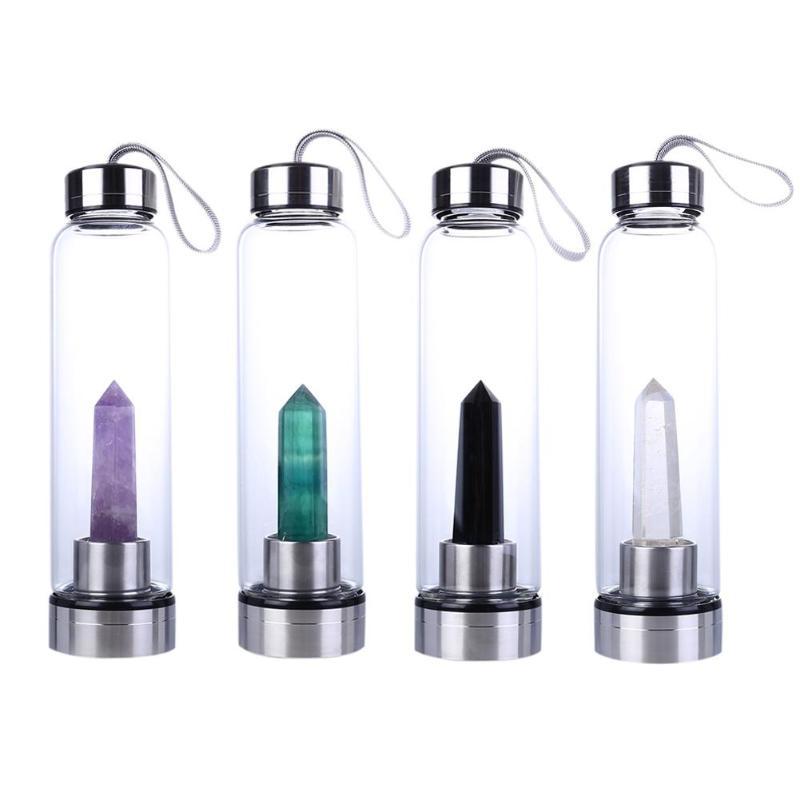 Natural Crystal Water Bottle Point Healing Obelisk Wand Elixir Quartz Crystal Water Bottle New Style 2019 Hot Sale Dropship