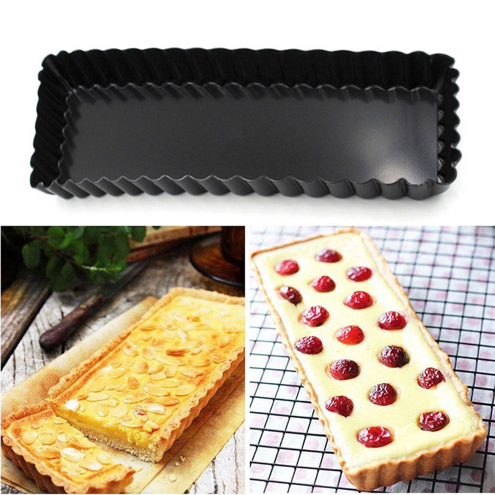 A250 Rectangle Pizza Biscuit Pie Pan Non Stick Mold Baking Chrysanthemum Aluminium Alloy Removable Bottom Tray