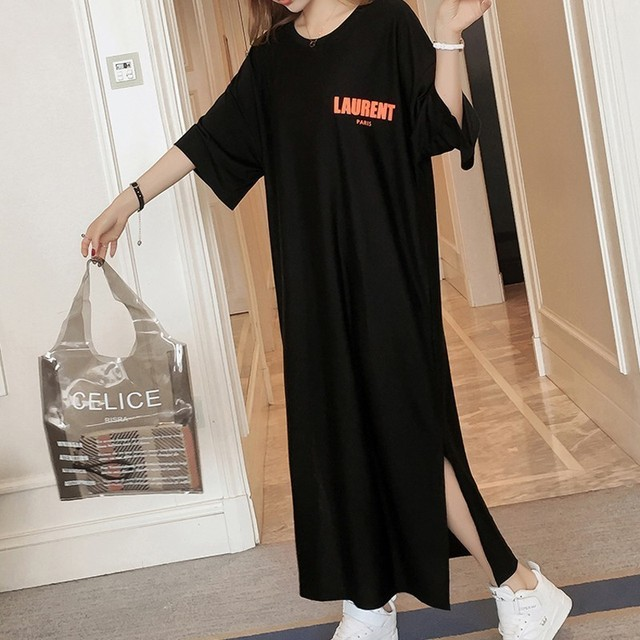 #4948 Summer Letter Print T Shirt Dress Women Cotton Black Round Neck Short Sleeve T Shirt Dresses Female Oversize Back Print