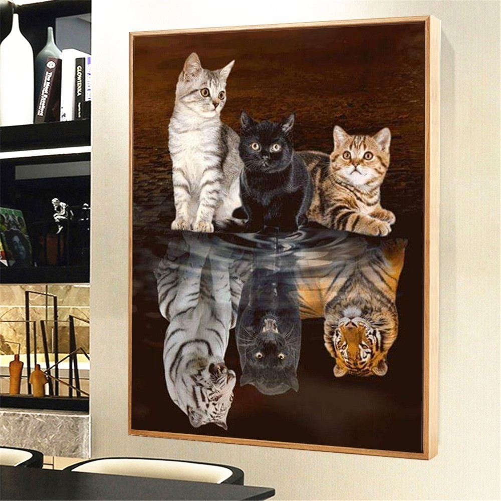 HUACAN Diamond Painting Cat Animal 5D DIY Mosaic Diamond Embroidery Tiger Full Square/Round Decor Home Picture Of Rhinestone