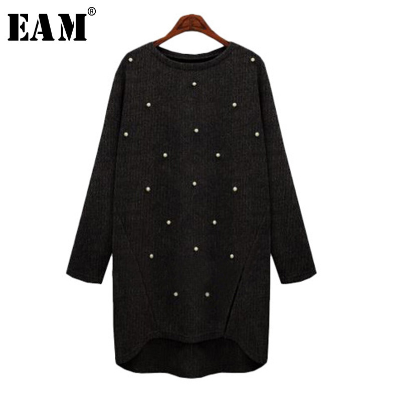 [EAM] 2019 Spring New Round Neck Long Sleeve Irregular Hedging Bronzing Loose Knitting Sweater Women Fashion Tide M0974