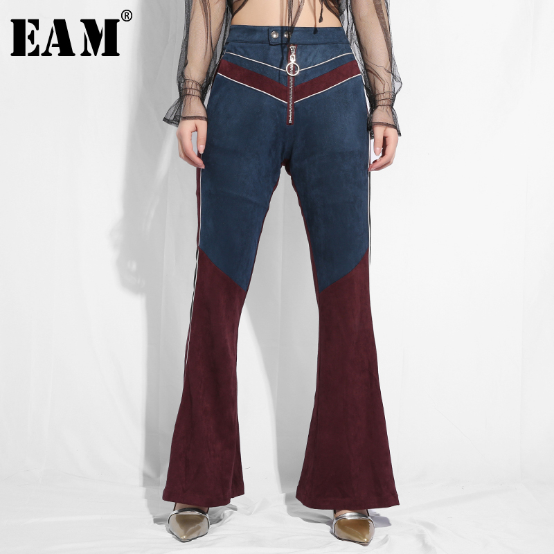 [EAM] 2019 New Spring Summer High Waist Hit Color Split Joint Zipper Personality Loose Flare Pants Women Trousers Fashion JQ51