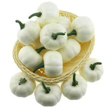 Gresorth 16pcs Fake White Pumpkins Artificial Food Model for Home Kitchen Halloween Decoration - 6 cm
