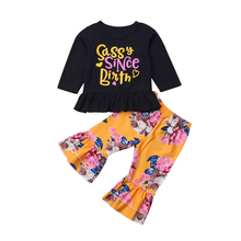 Pudcoco Summer 2Pcs Infant Toddler Kids Baby Girl T-shirt Top +Floral Bell Bottoms Pants Outfits Clothes Set