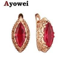 Последние 925 золотые серьги Модные ювелирные изделия огромный Красный Кристалл Циркон Свадебный подарок Je1209a