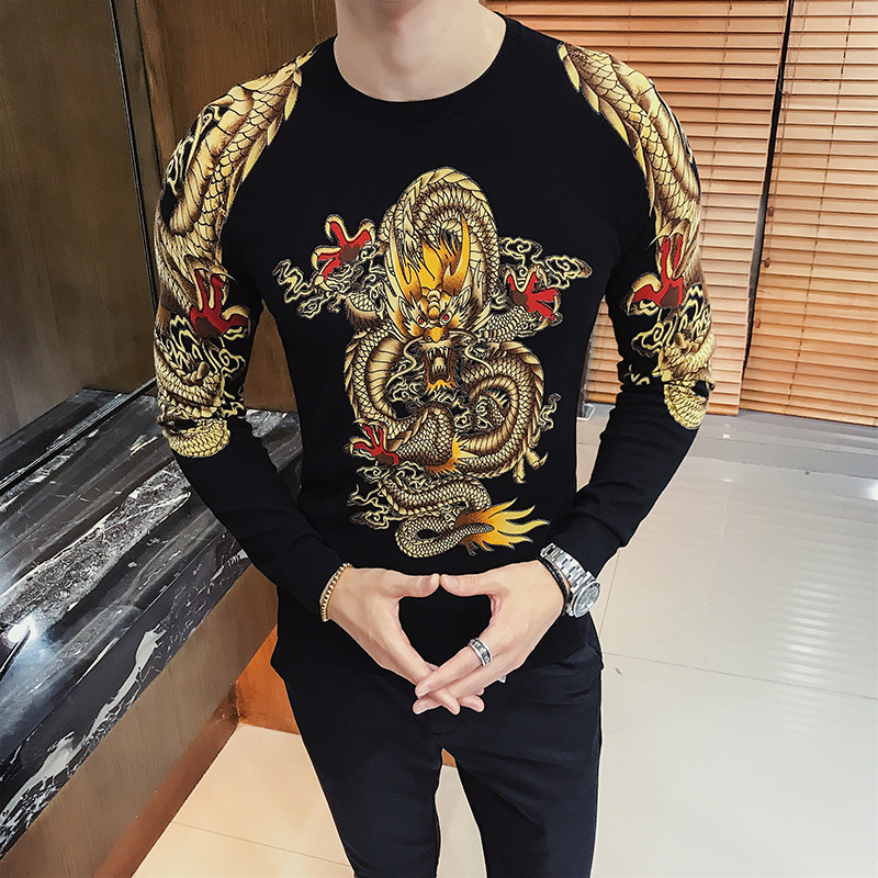 Luxury Gold Dragon Print Sweater Men Pullver Erkek Kazak  Club Party Stage Clothing Male Sweater Trui Heren