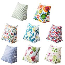 Cotton Canvas Pillow Cartoon Pattern Backrest Back Cushion Bed Triangle Cushion Sofa Removable Waist Pillow