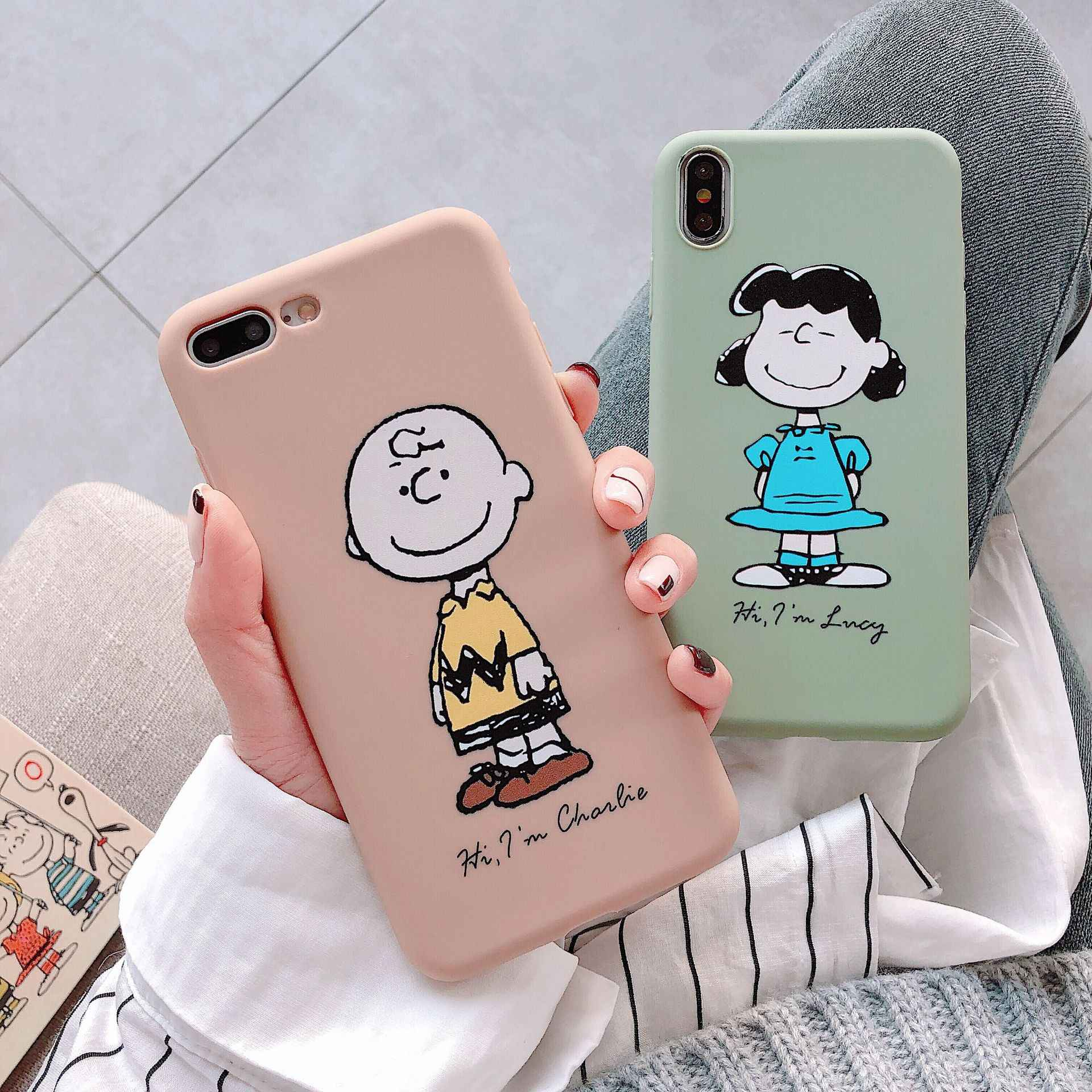 Cute Cartoon Charlie Brown Couple Phone Case For iPhone 7 7 Puls 6 6S 7 8 Puls X Xs XR Xsmax Cases Soft Silicone Cover Coque