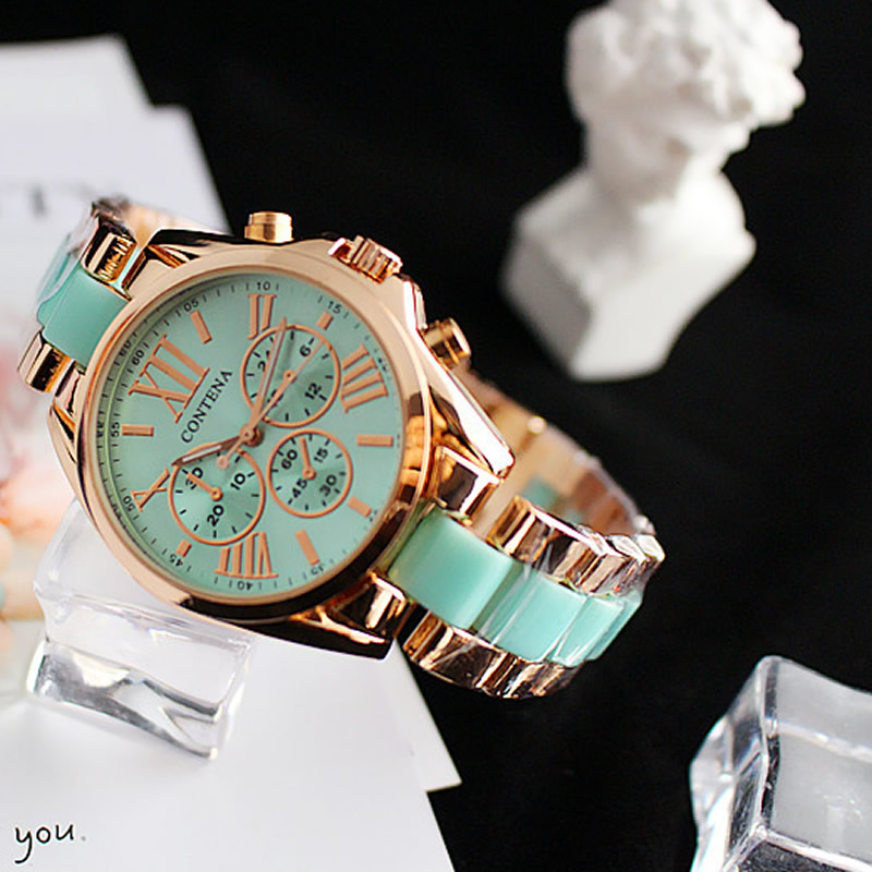 Cyan  Watch Women Stainless Steel Relojes Mujer 2018 Quartz Three Eyes Analog New Fashion Clock Relogio Feminino Hot