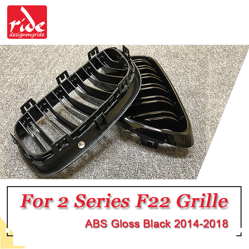 1 Pair F22 Grille ABS Gloss Black For F22 2 slats Front Mesh Grills M Style 220i 228i 228ixDrive 235i Front Kidney Grille 2014 in Racing Grills from Automobiles Motorcycles