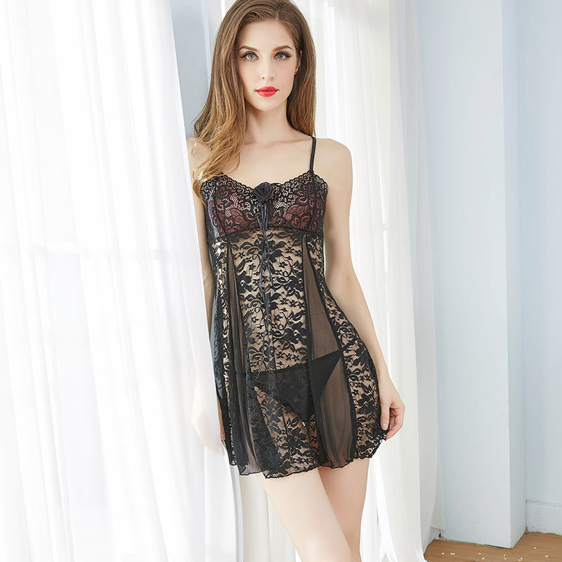 Sexy Lace Woman Nightdress Sleepwear See-through Night Dress Lady Hollow Out Mesh   Nightgowns