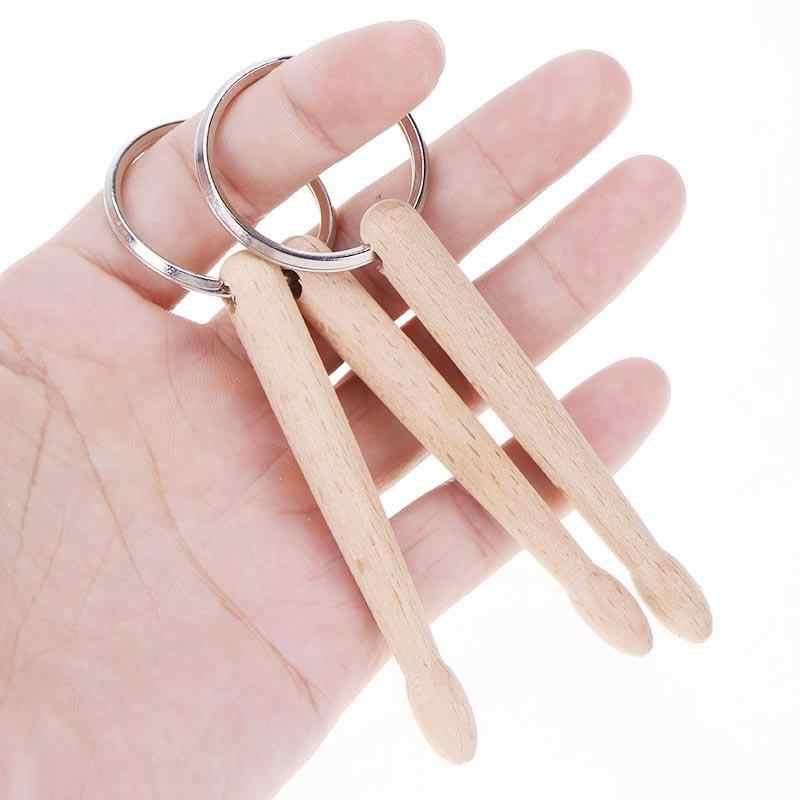 Baquetas de madera de haya percusión llavero cadena llaveros Mini multifunción palos de tambor llavero