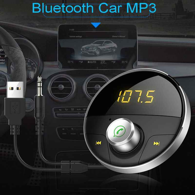 Kit manos libres Bluetooth Aux 3,5 Mm Jack Audio reproductor Mp3 con ranura Tf transmisor Fm inalámbrico Auto coche Adaptador Usb-Hy62