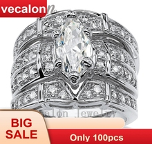 Vecalon Vintage Engagement Wedding band Ring Set for Women Marquise Cut 3ct 5A Zircon cz 14KT White Gold Filled Party ring