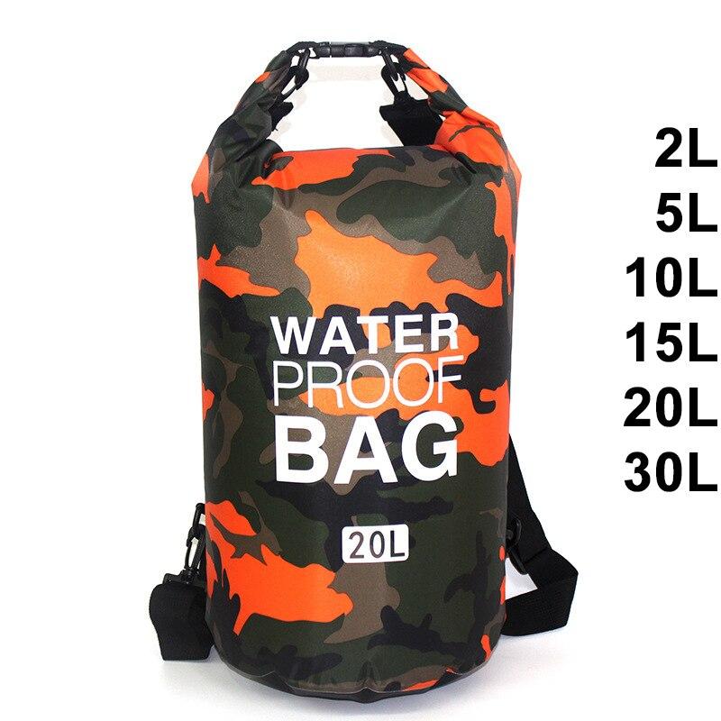 Impermeable bolso de natación seco saco colores de camuflaje en bote de pesca Kayak de almacenamiento a la deriva Rafting bolsa 2L 5L 10L 15L 20L 30L